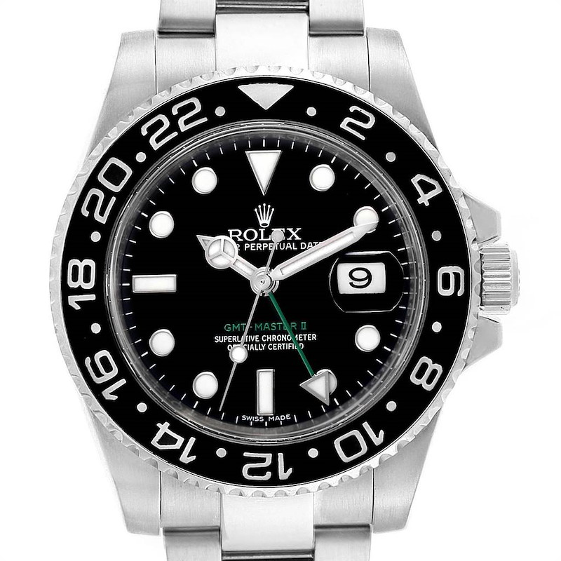 Rolex GMT Master II Green Hand Steel Mens Watch 116710 Box Card SwissWatchExpo