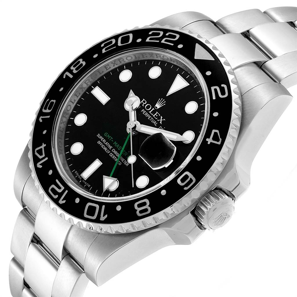 24494 Rolex GMT Master II Ceramic Bezel Mens Watch 116710 Box Card SwissWatchExpo