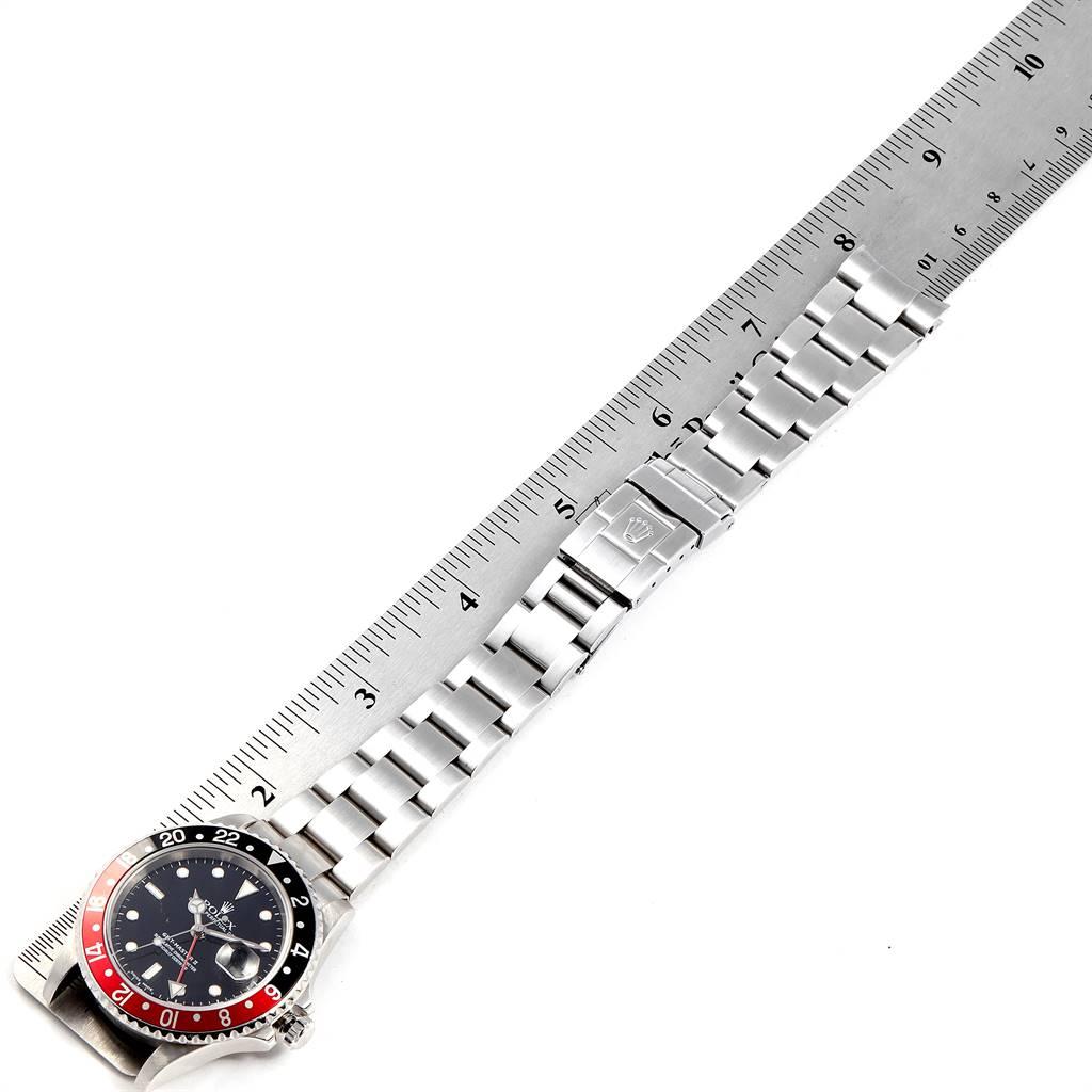 24417 Rolex GMT Master II Black Red Coke Bezel Steel Mens Watch 16710 SwissWatchExpo