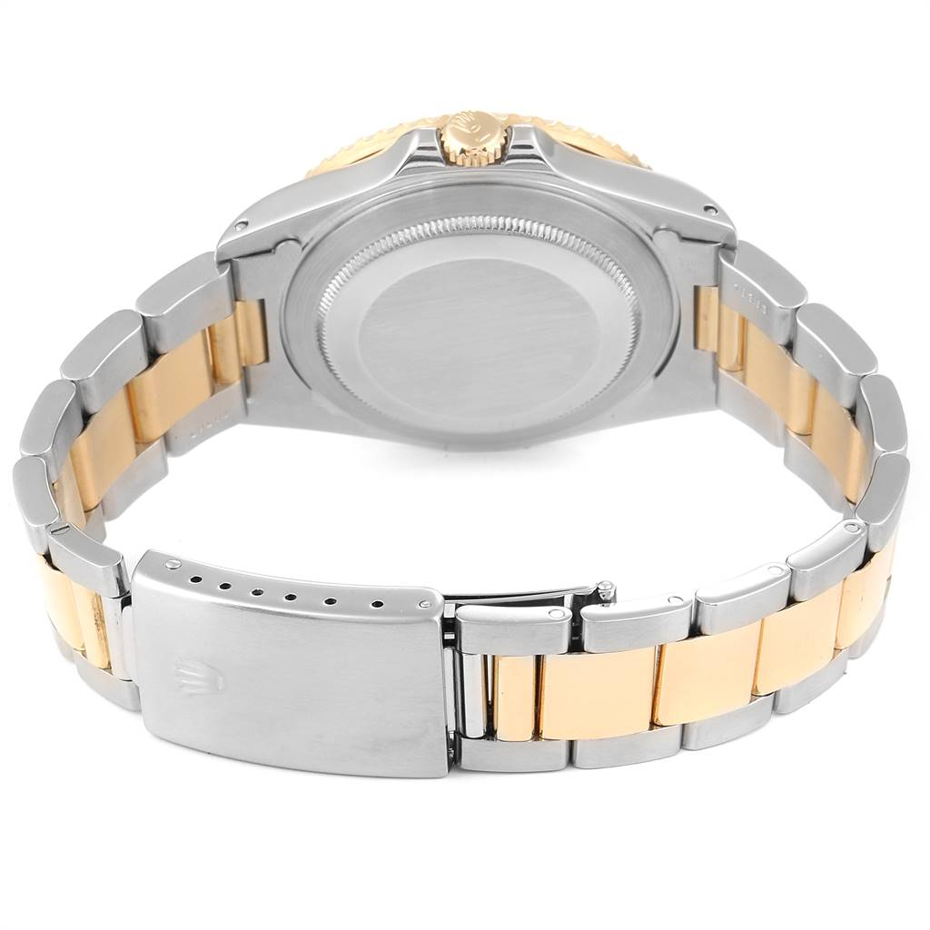 Rolex GMT Master II Mens 18k Yellow Gold Steel Watch Serti Dial 16713 SwissWatchExpo