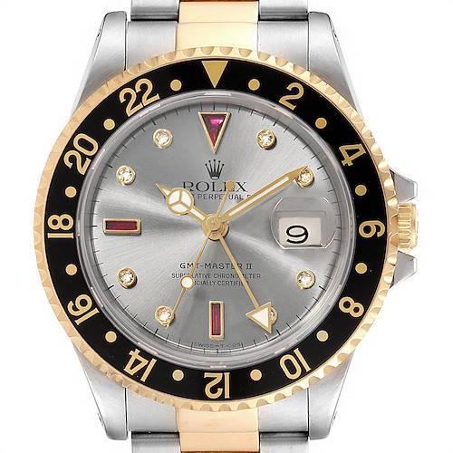 Photo of Rolex GMT Master II Mens 18k Yellow Gold Steel Watch Serti Dial 16713