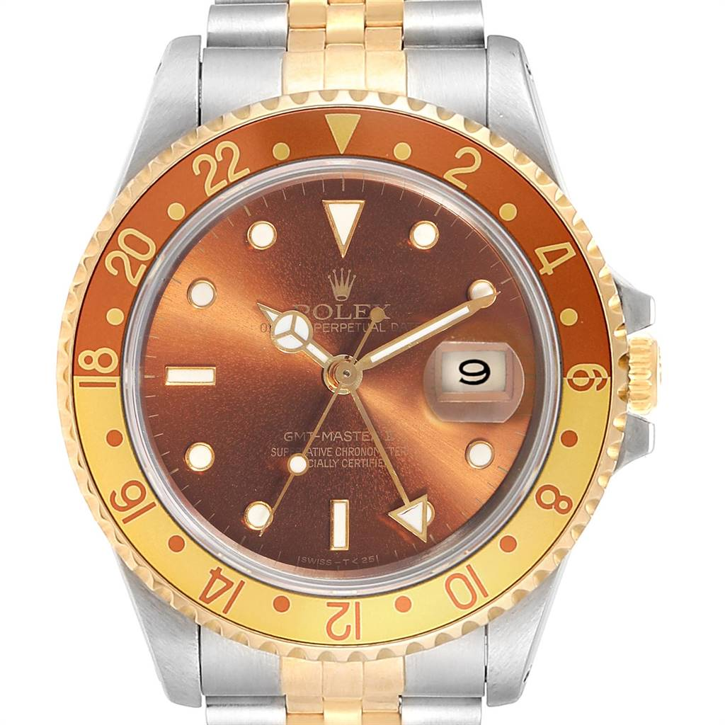 4487X Rolex GMT Master II Rootbeer Ghost Dial Yellow Gold Steel Mens Watch 16713 SwissWatchExpo