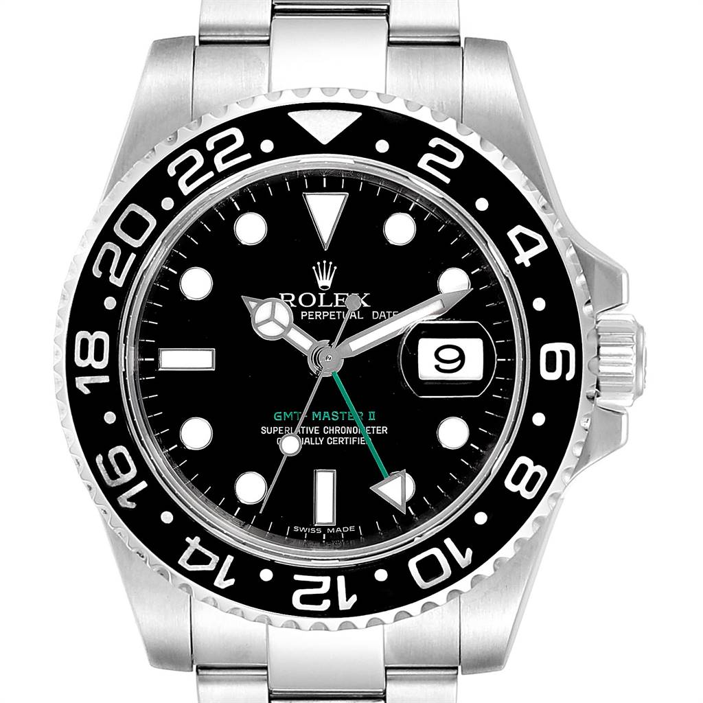Rolex GMT Master II 40mm Black Dial Green Hand Mens Watch 116710