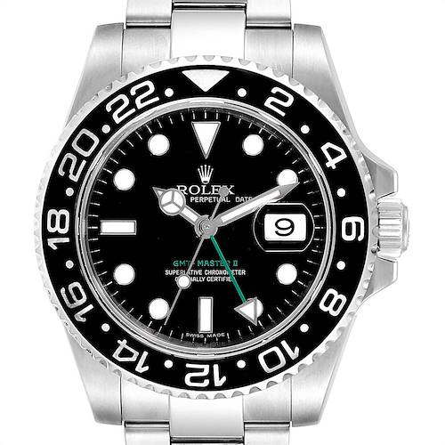 Photo of Rolex GMT Master II 40mm Black Dial Green Hand Mens Watch 116710