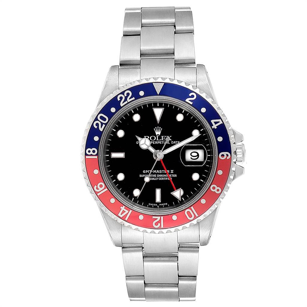 23521 Rolex GMT Master II Blue Red Pepsi Bezel Steel Mens Watch 16710 SwissWatchExpo