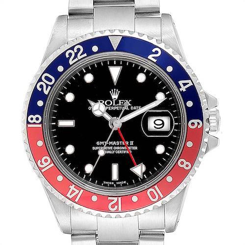 Photo of Rolex GMT Master II Blue Red Pepsi Bezel Steel Mens Watch 16710