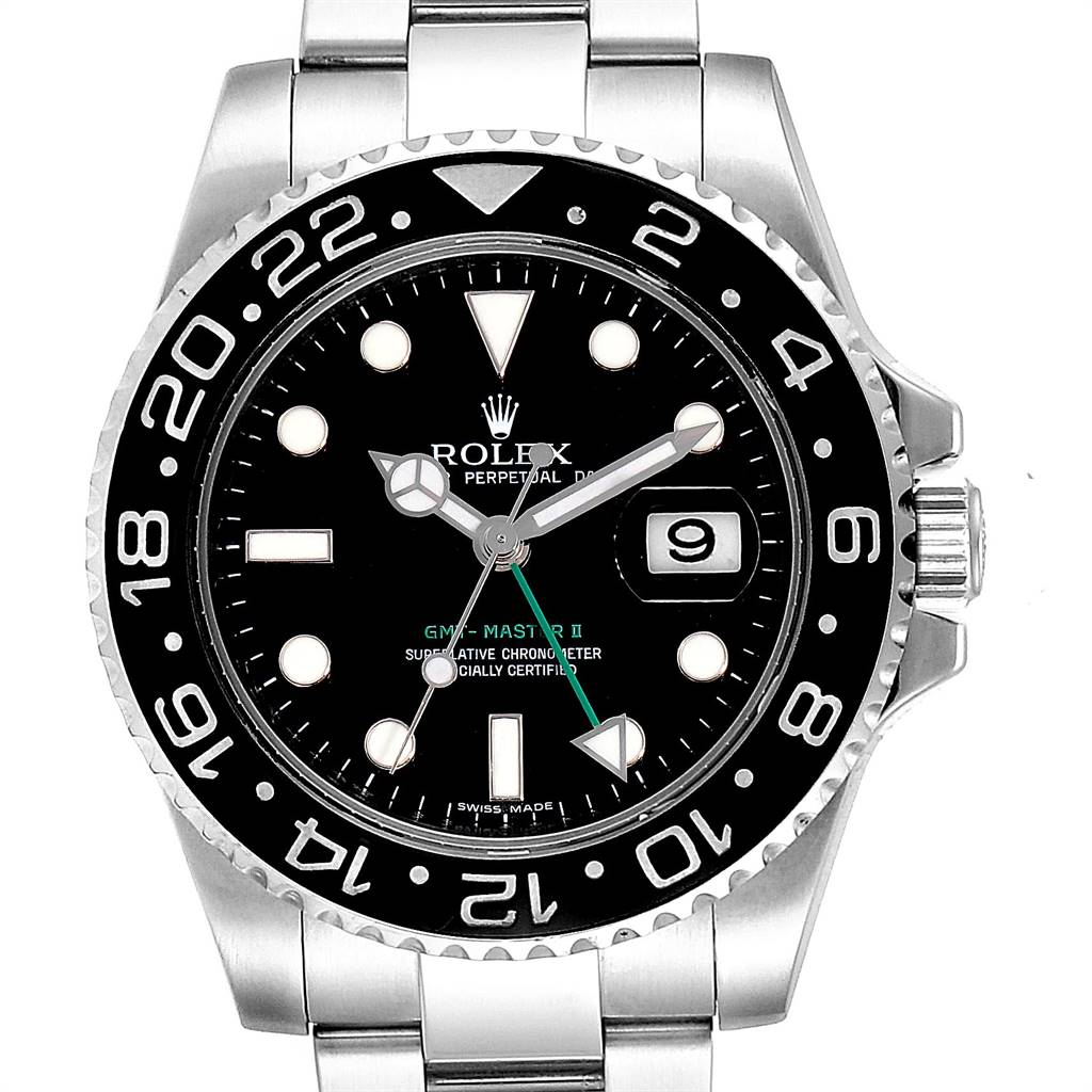 24491 Rolex GMT Master II 40mm Black Dial Green Hand Mens Watch 116710 SwissWatchExpo