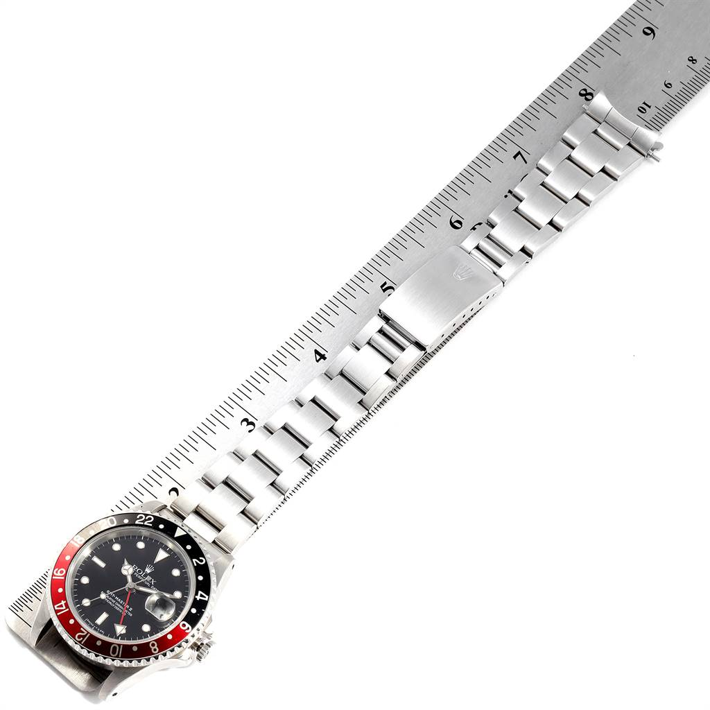 24913 Rolex GMT Master II Black Red Coke Bezel Steel Mens Watch 16710 SwissWatchExpo