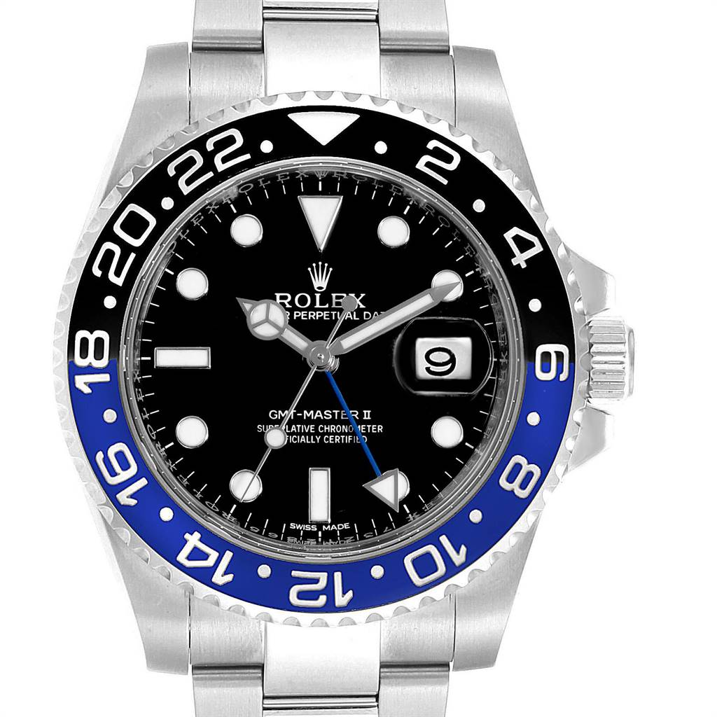 25087 Rolex GMT Master II Batman Blue Black Ceramic Bezel Steel Watch 116710 SwissWatchExpo