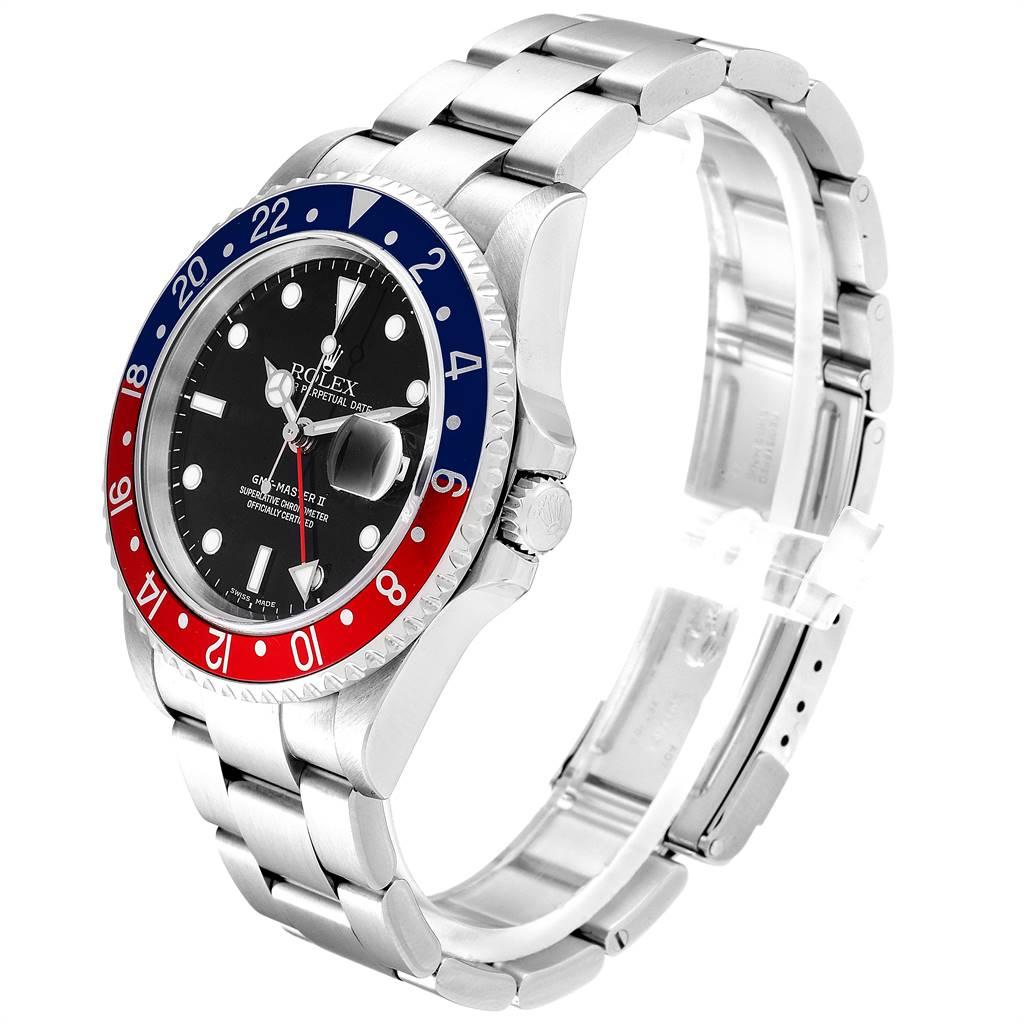 Rolex GMT Master II 3 Coke Pepsi Black Bezel Inserts Mens Watch 16710 SwissWatchExpo