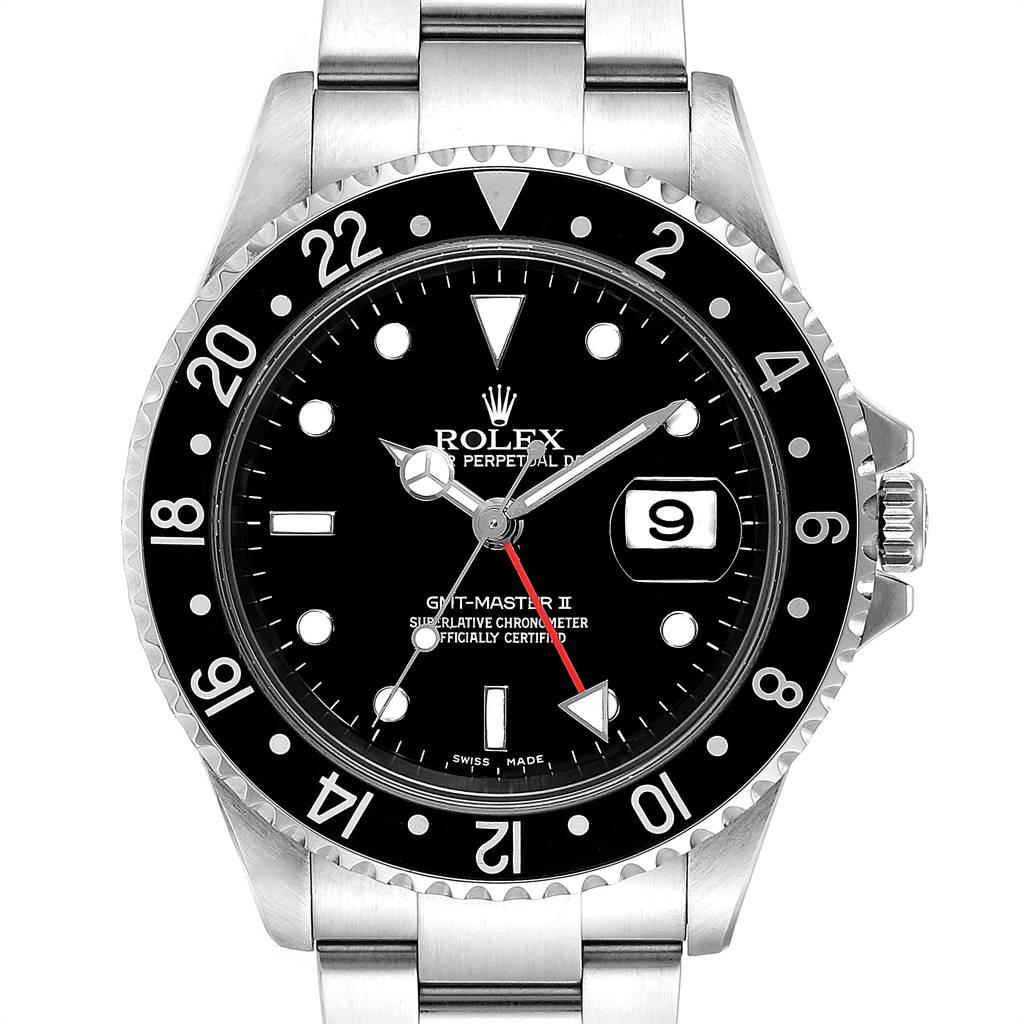 Rolex GMT Master II Black Bezel Red Hand Mens Watch 16710 Box SwissWatchExpo