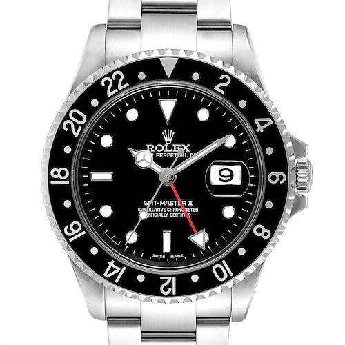 Photo of Rolex GMT Master II Black Bezel Red Hand Mens Watch 16710 Box