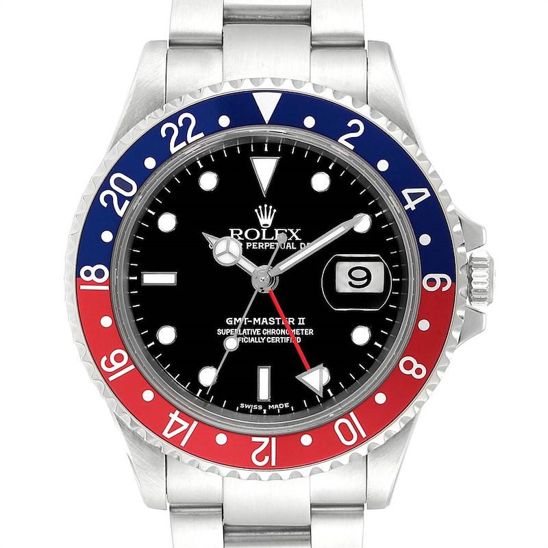 Rolex GMT Master II 3 Coke Pepsi Black Bezel Mens Watch 16710 Box Papers SwissWatchExpo
