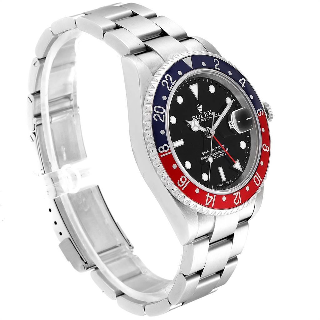 Rolex GMT Master II Blue Red Pepsi Bezel Inserts Mens Watch 16710 SwissWatchExpo