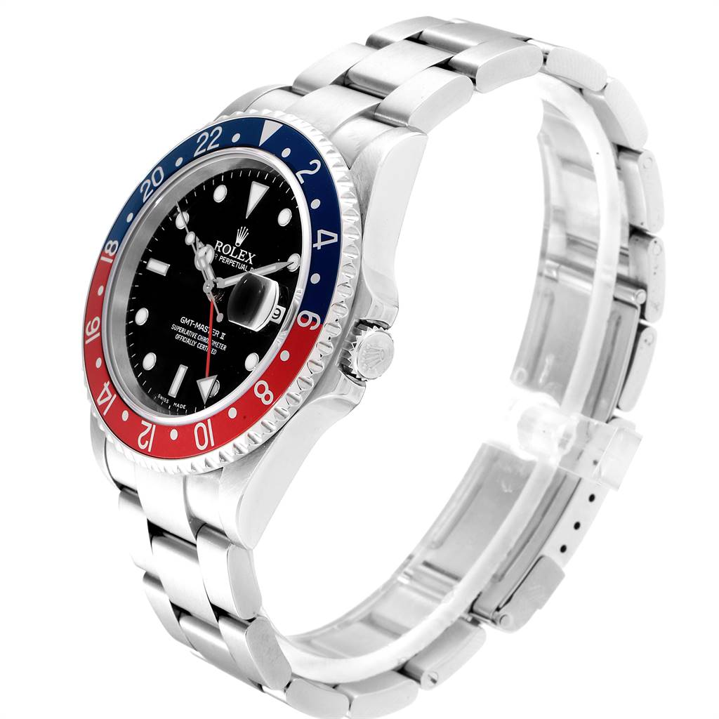 25460 Rolex GMT Master II Blue Red Pepsi Bezel Inserts Mens Watch 16710 SwissWatchExpo