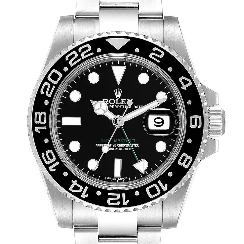 Rolex GMT Master II Black Dial Steel Mens Watch 116710 Box Card SwissWatchExpo