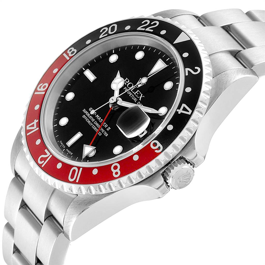 Rolex GMT Master II Black Red Coke Bezel Steel Mens Watch 16710 SwissWatchExpo