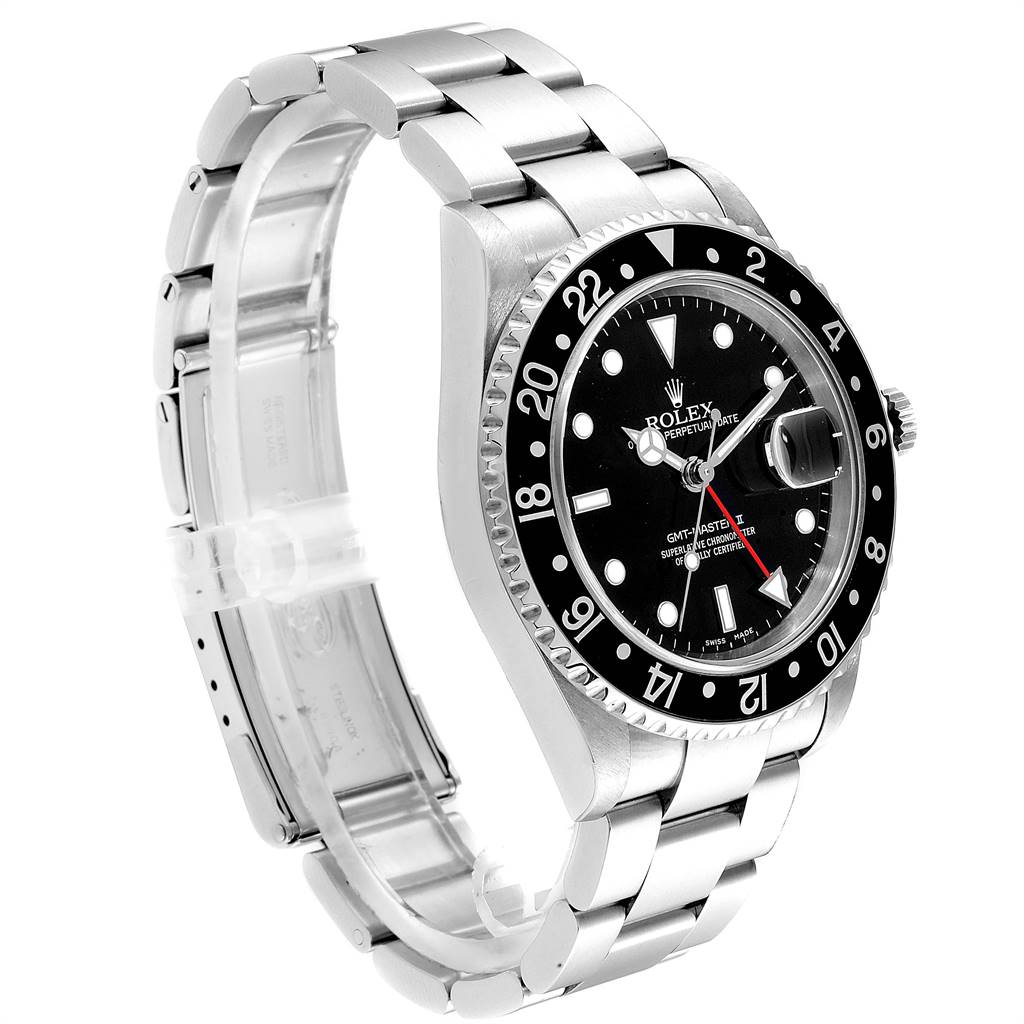 rolex gmt master ii black bezel red hand mens watch 16710 box card