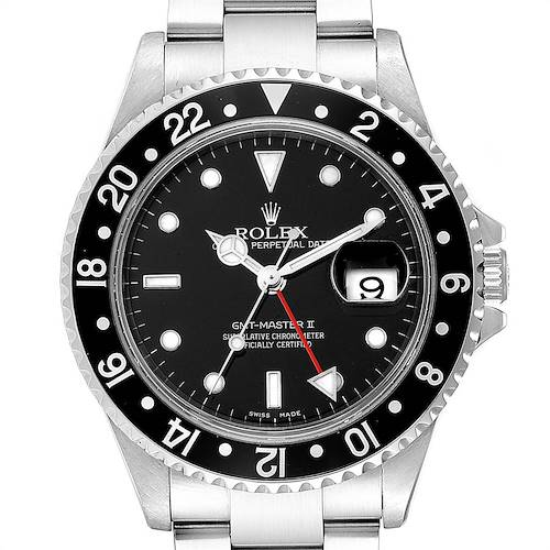 Photo of Rolex GMT Master II Black Bezel Red Hand Mens Watch 16710 Box Card