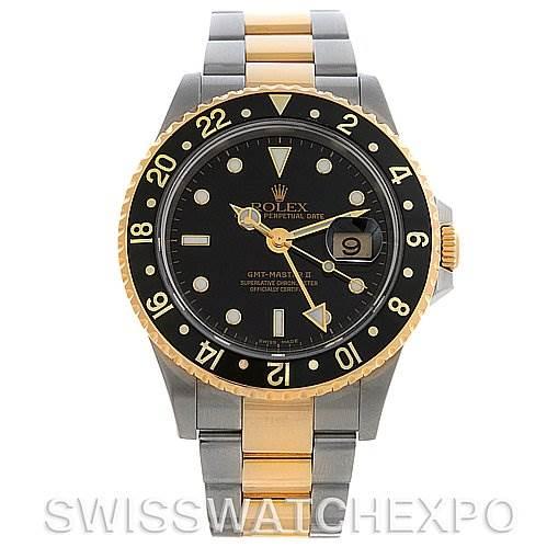 ROLEX  GMT MASTER II MEN'S 18KT& SS WATCH 16713 SwissWatchExpo