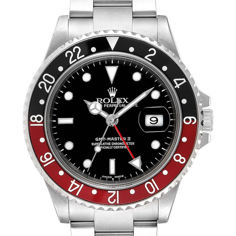 Rolex GMT Master II Coke Mens Watch 16710 with extra 2 Bezel Inserts Pepsi and Black SwissWatchExpo