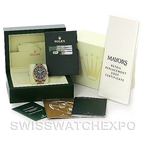 2884 Rolex GMT Master II Men's 18k Gold Steel Watch 116713 SwissWatchExpo