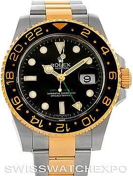 Photo of Rolex GMT Master II Men's 18k Gold Steel Watch 116713