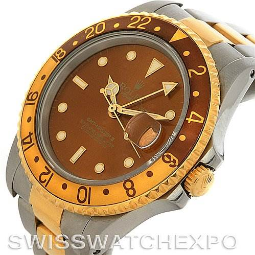 2943 Rolex Men's 18k and Steel Rolex GMT Master II Watch 16713 SwissWatchExpo