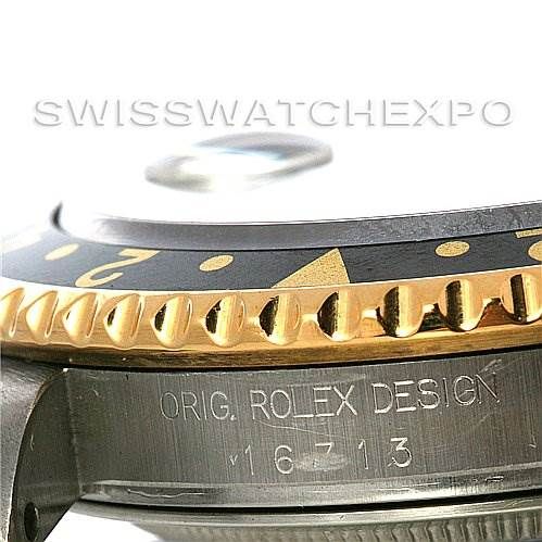 Rolex Men's 18k Y Gold Steel Rolex GMT Master II Watch 16713 SwissWatchExpo