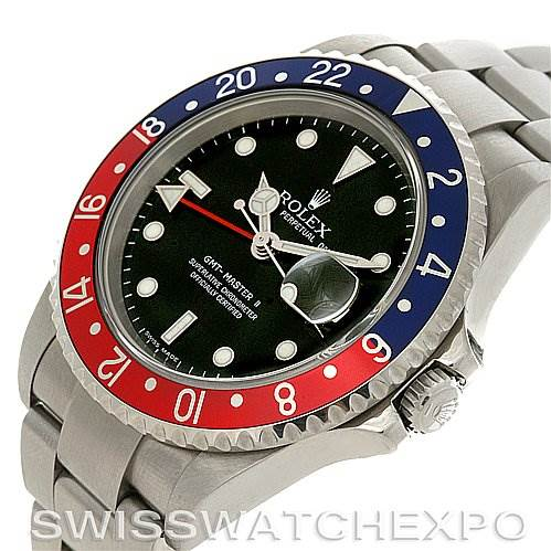 2962 Rolex GMT Master II Mens Steel Watch 16710 Error Dial SwissWatchExpo