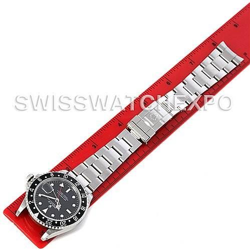 3082 Rolex GMT Master II Mens Steel Watch Black Bezel 16710 SwissWatchExpo