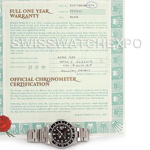 Rolex GMT Master II Mens Steel Watch Black Bezel 16710 SwissWatchExpo