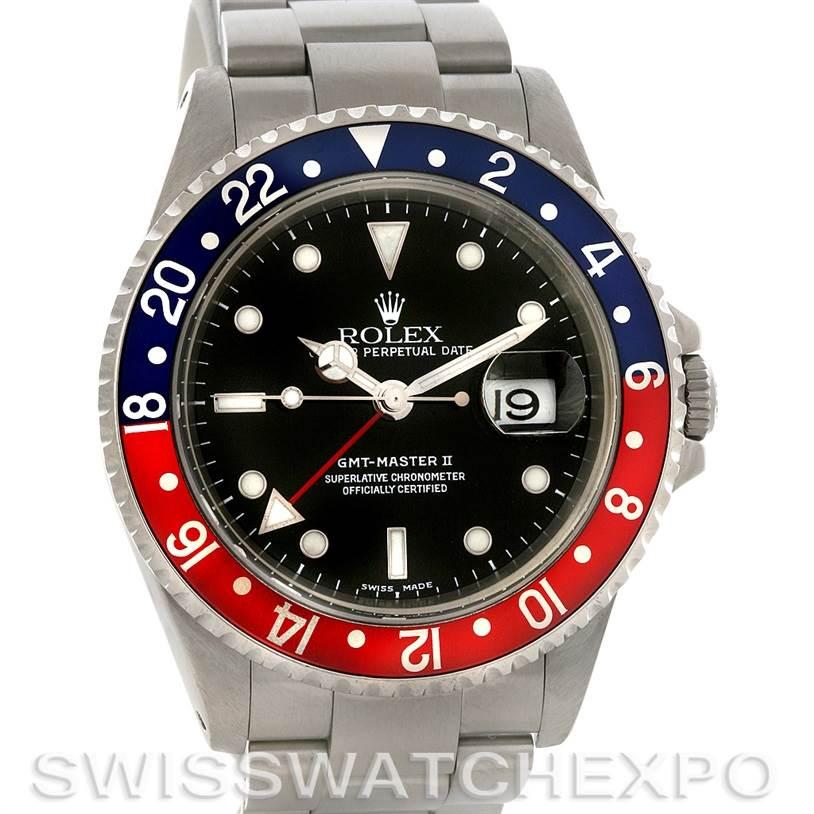 4042 Rolex GMT Master II Pepsi Steel Mens Watch 16710 SwissWatchExpo