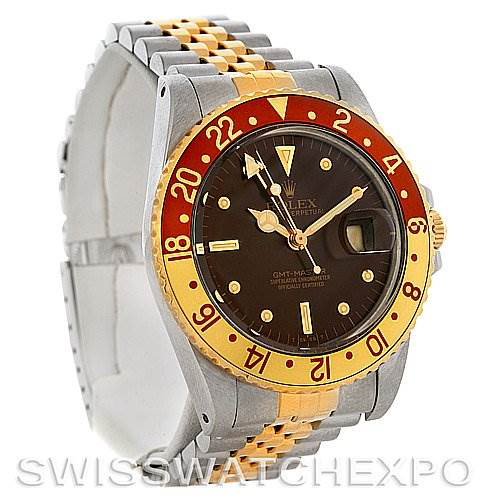 Men's 18k Gold and Steel Rolex GMT Master Watch 16753 SwissWatchExpo