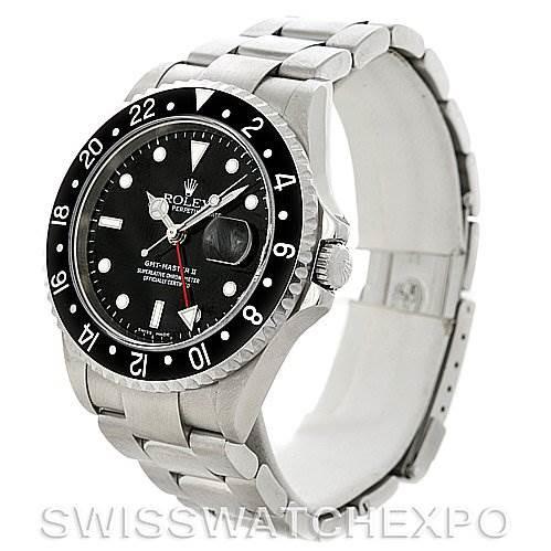 Rolex GMT Master II Mens Steel Watch Black Bezel 16710 Sport Watch SwissWatchExpo