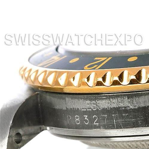 Men's 18k Yellow Gold Steel Rolex GMT Master II Watch 16713 SwissWatchExpo