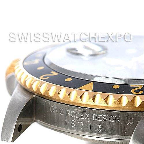Mens 18k Yellow Gold Steel Rolex GMT Master II Watch 16713 SwissWatchExpo