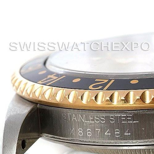 Rolex GMT II Men's 18k Yellow Gold Steel Watch Serti Dial 16713 SwissWatchExpo
