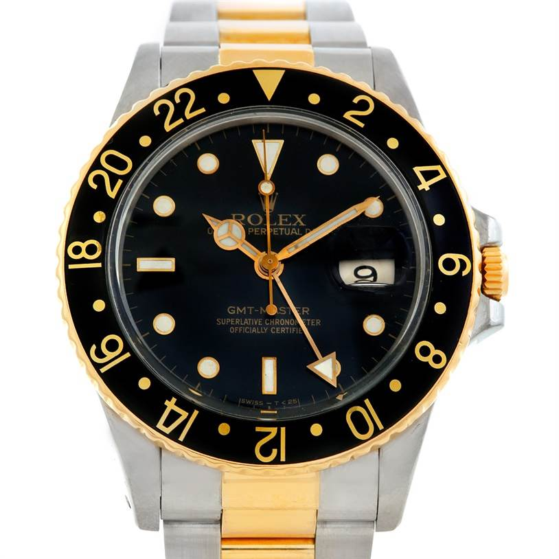 5884 Rolex GMT Master Mens 18k Gold Steel Watch 16753 SwissWatchExpo