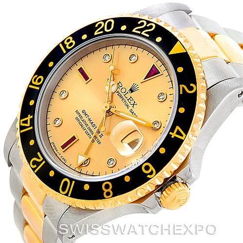 Rolex GMT II Mens 18k Yellow Gold Steel Watch Serti Dial 16713 SwissWatchExpo