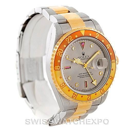 Rolex GMT Master II 18k Yellow Gold Steel Serti Dial Watch 16713 Unworn SwissWatchExpo