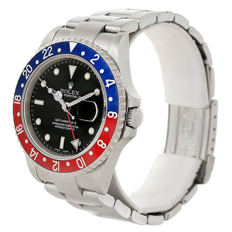 Rolex GMT Master II Pepsi Bezel Steel Mens Watch 16710 SwissWatchExpo