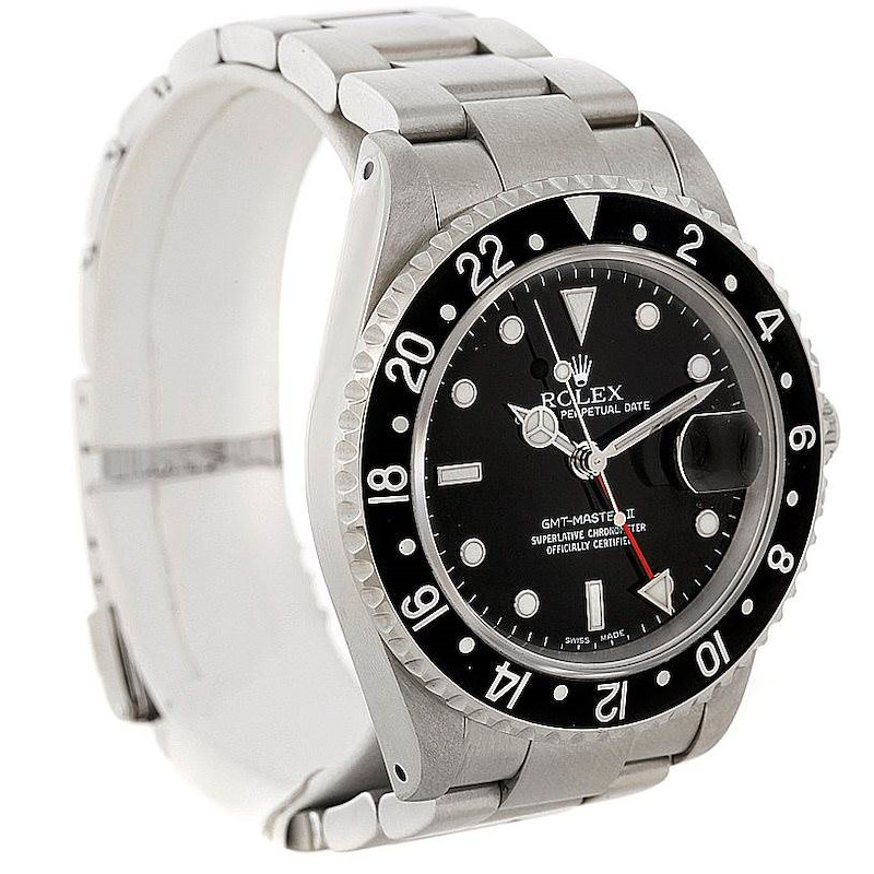 Rolex GMT Master II Mens Steel Black Bezel Watch 16710 SwissWatchExpo
