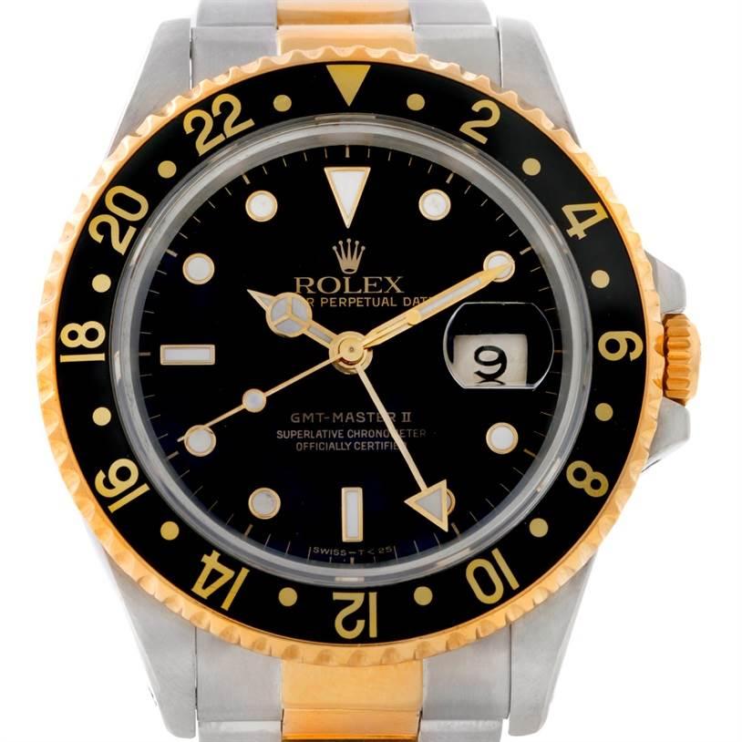 rolex gmt master ii mens 18k yellow gold steel 16713