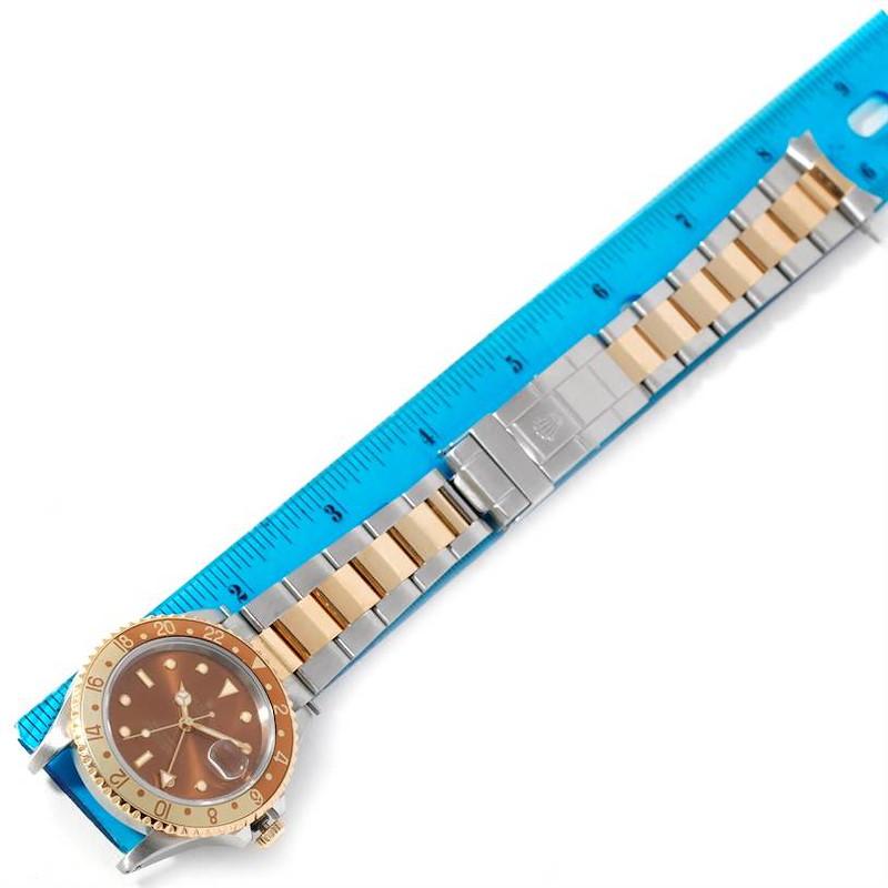 Rolex GMT Master II Rootbeer Mens 18k Yellow Gold Steel Watch 16713 SwissWatchExpo