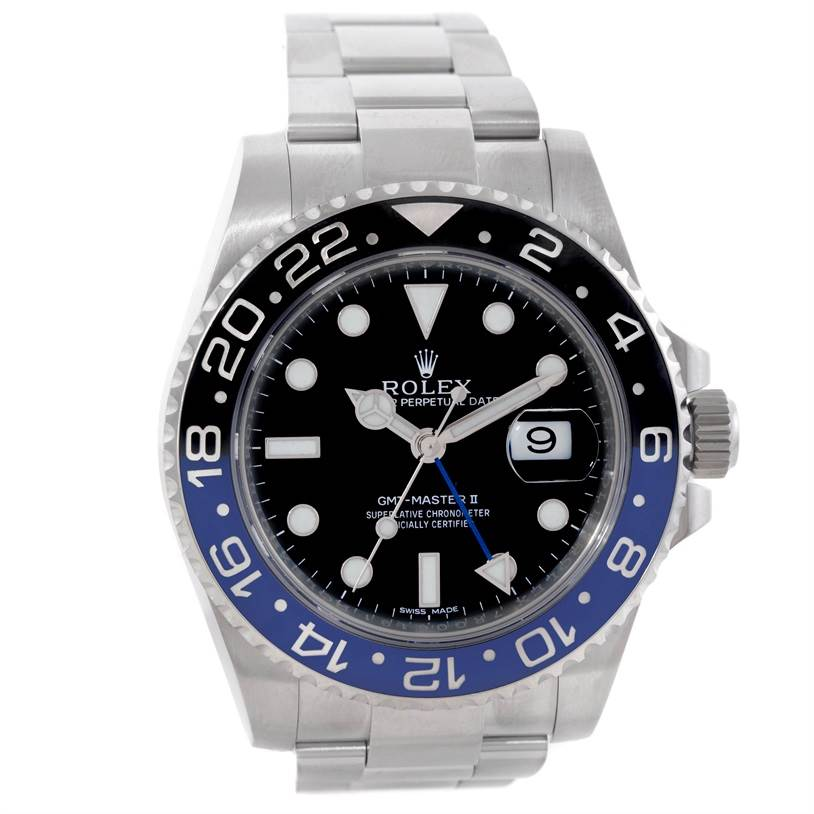 Rolex GMT Master II Blue/Black Batman Ceramic Bezel Mens Watch 116710 SwissWatchExpo