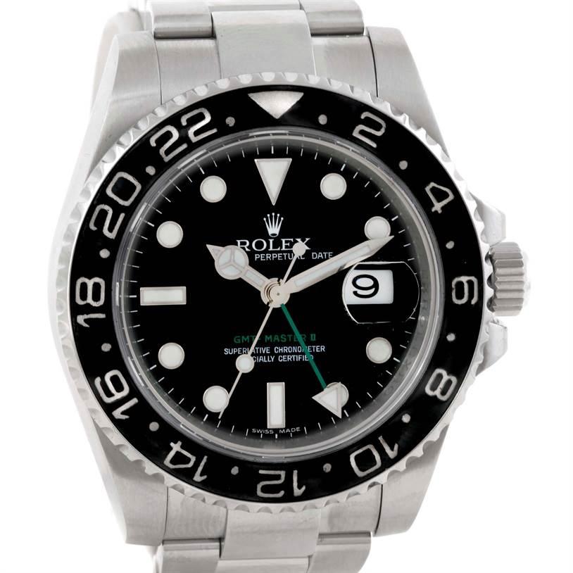 9775 Rolex GMT Master II Ceramic Bezel Mens Stainless Steel Watch 116710 SwissWatchExpo