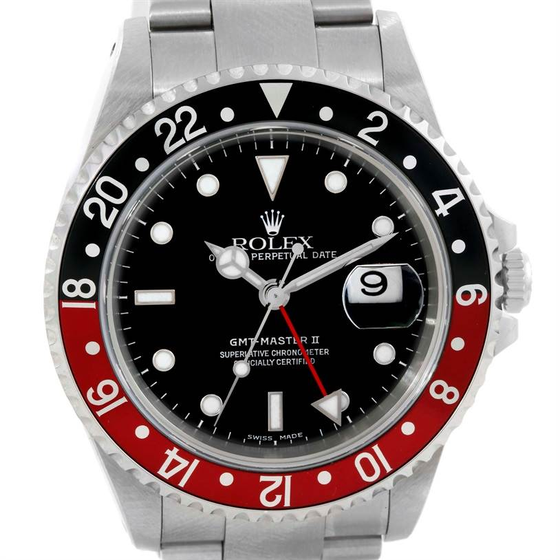 Rolex GMT Master II Black Red Coke Bezel Mens Watch 16710 Unworn SwissWatchExpo