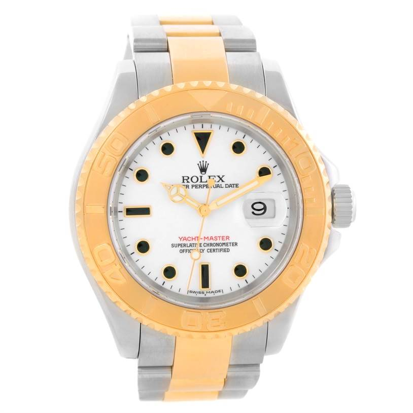 rolex yachtmaster steel 18k yellow gold white mens