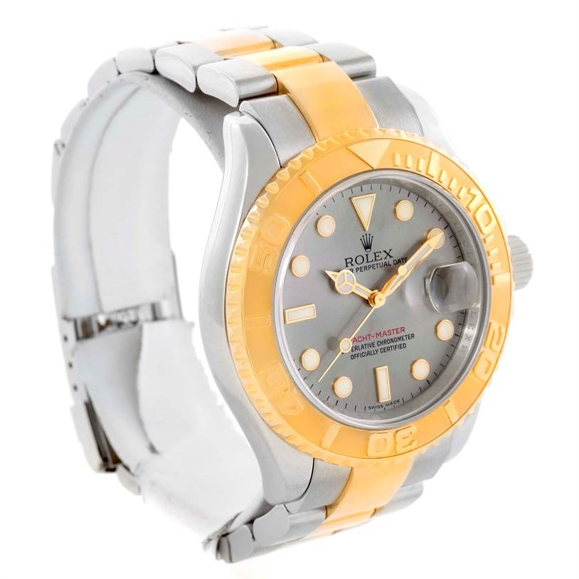 rolex yachtmaster steel 18k yellow gold gray mens